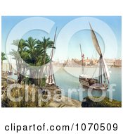 Photochrom Of A Sailing Boat On The Nile Cairo Egypt Royalty Free Historical Stock Photography by JVPD