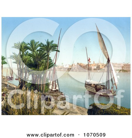 Photochrom Of A Sailing Boat on the Nile, Cairo, Egypt - Royalty Free Historical Stock Photography by JVPD