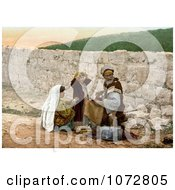 Photochrom Of A Shoemaker Man And Children By A Wall In Jerusalem Royalty Free Historical Stock Photography by JVPD