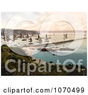 Photochrom Of A Steamship And Sailboats In The Harbour Brixham Devon England United Kingdom Royalty Free Historical Stock Photography by JVPD