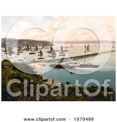 Photochrom of a Steamship and Sailboats in the Harbour, Brixham, Devon, England, United Kingdom - Royalty Free Historical Stock Photography by JVPD