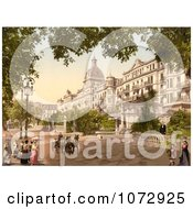 Photochrom Of A Street Scene At The Grand Hotel Victoria Interlaken Royalty Free Historical Stock Photography