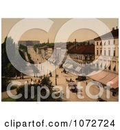 Photochrom Of A Street Scene Christinia Norway Royalty Free Historical Stock Photography
