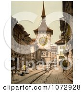 Photochrom Of A Street Scene In Berne Switzerland Royalty Free Historical Stock Photography