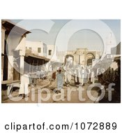Photochrom Of A Street Scene With People In Kairwan Tunisia Royalty Free Historical Stock Photography by JVPD