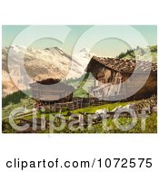 Photochrom Of A Swiss House Near Mountains Royalty Free Historical Stock Photography by JVPD