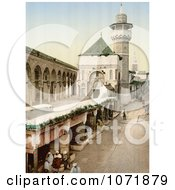 Photochrom Of A Tower And People At Sadiky Hospital In Tunis Tunisia Royalty Free Historical Stock Photo by JVPD