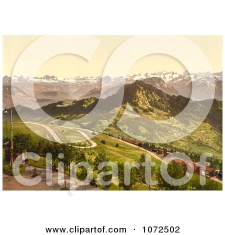 Photochrom of a Train Station in the Mountains, Switzerland - Royalty Free Historical Stock Photography by JVPD