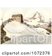 Photochrom Of A Train Station Near Matterhorn Mountain Switzerland Royalty Free Historical Stock Photography