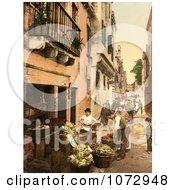 Photochrom Of A Venetian Street Market Royalty Free Historical Stock Photography
