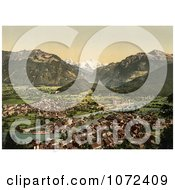 Photochrom Of A View Of Interlaken And The Aare River Royalty Free Historical Stock Photography by JVPD