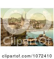 Photochrom Of A View Of The Quay In Lucerne Switzerland Royalty Free Historical Stock Photography