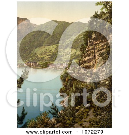 Photochrom of a View on Brunnen From Axenstrasse - Royalty Free Historical Stock Photography by JVPD