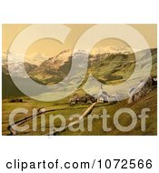 Photochrom Of A Village Near The Swiss Alps Bernese Oberland Royalty Free Historical Stock Photography