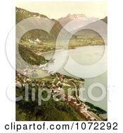 Photochrom Of A Village On Geneva Lake Royalty Free Historical Stock Photography by JVPD