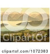 Photochrom Of A Village On Lake Lucerne Royalty Free Historical Stock Photography by JVPD