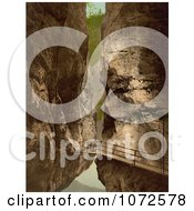 Photochrom Of A Walkway In A Gorge Switzerland Royalty Free Historical Stock Photography