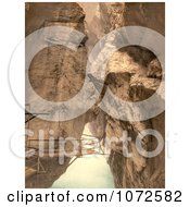 Photochrom Of A Walkway In The Gorge Of The Aare River Royalty Free Historical Stock Photography
