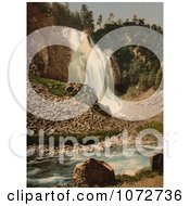Photochrom Of A Waterfall In Hardanger Fjord Royalty Free Historical Stock Photography by JVPD