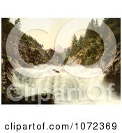 Photochrom Of A Waterfall In The Swiss Alps Royalty Free Historical Stock Photography by JVPD