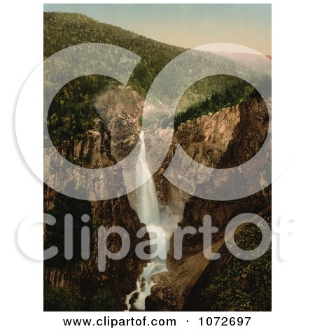 Photochrom of a Waterfall, Rjukanfos, Telemark, Norway - Royalty Free Historical Stock Photography by JVPD