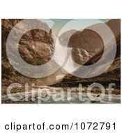 Photochrom Of A Waterfall Skjeggedalsfos Odde Royalty Free Historical Stock Photography by JVPD