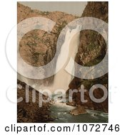 Photochrom Of A Waterfall Vorinfos Hardanger Fjord Royalty Free Historical Stock Photography by JVPD