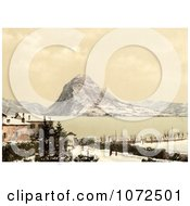 Photochrom Of A Winter Scene On Lake Lugano Switzerland Royalty Free Historical Stock Photography