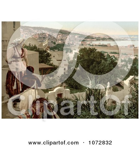 Photochrom of a Woman and Child Viewing the City of Algiers From a Terrace, Algeria - Royalty Free Historical Stock Photography by JVPD