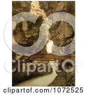 Photochrom Of A Wood Path Through A Gorge Switzerland Royalty Free Historical Stock Photography