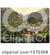 Photochrom Of Aare River Interlaken And Jungfrau In Switzerland Royalty Free Historical Stock Photography