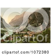 Photochrom Of Amsteg Switzerland Royalty Free Historical Stock Photography by JVPD