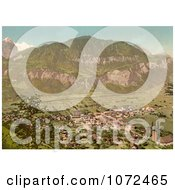 Photochrom Of An Aerial Of Meiringen Bernese Oberland Switzerland Royalty Free Historical Stock Photography