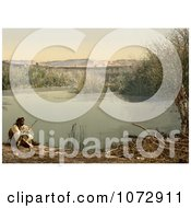 Photochrom Of An Arabian Man On The Shore Of The River Jordan Royalty Free Historical Stock Photography