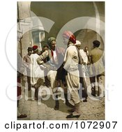 Photochrom Of Arabian Men Chatting In The Street In Tunis Tunisia Royalty Free Historical Stock Photography by JVPD