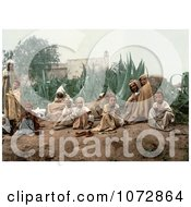 Photochrom Of Arabian People In A Garden Royalty Free Historical Stock Photography by JVPD