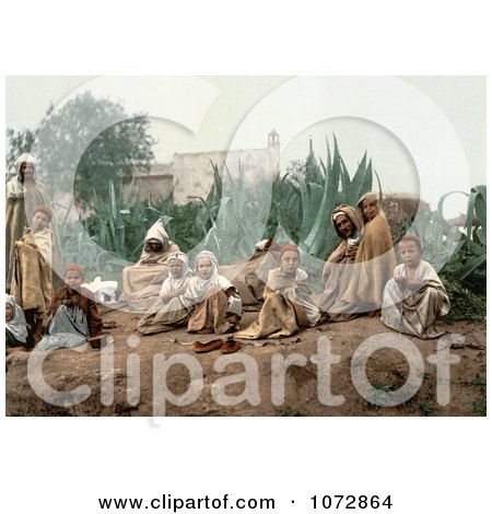 Photochrom of Arabian People in a Garden - Royalty Free Historical Stock Photography by JVPD