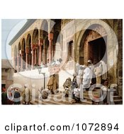 Photochrom Of Arabs Leaving A Mosque In Tunis Tunisia Royalty Free Historical Stock Photography by JVPD