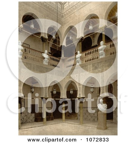 Photochrom of Arcades and Statues on the Interior of The Governor's Palace, Algiers, Algeria - Royalty Free Historical Stock Photography by JVPD