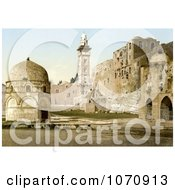 Photochrom Of Assises And The Tower Of Antonio Jerusalem Royalty Free Historical Stock Photo by JVPD