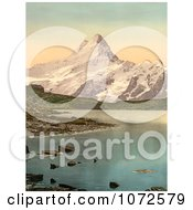 Photochrom Of Bach Alps Lake And Schreckhorn Royalty Free Historical Stock Photography