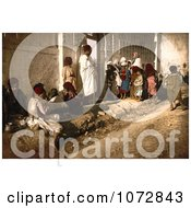 Photochrom Of Beggars Outside A Mosque Algeria Royalty Free Historical Stock Photography by JVPD