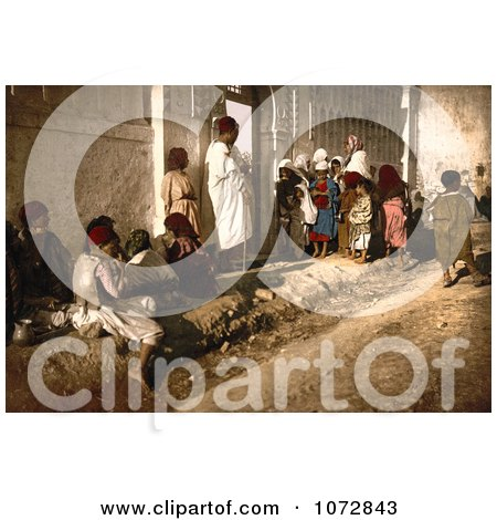 Photochrom of Beggars Outside a Mosque, Algeria - Royalty Free Historical Stock Photography by JVPD