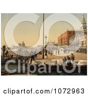 Photochrom Of Boats And Doges Palace Venice Italy Royalty Free Historical Stock Photography