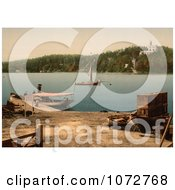 Photochrom Of Boats And People In Oscarshal Royalty Free Historical Stock Photography