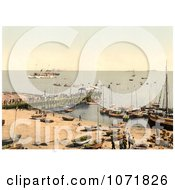 Photochrom Of Boats And Pier At Heligoland Germany Royalty Free Historical Stock Photo by JVPD