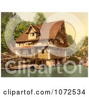 Photochrom Of Boats By A House In Switzerland Royalty Free Historical Stock Photography by JVPD