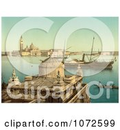 Photochrom Of Boats In Harbor Venice Italy Royalty Free Historical Stock Photography by JVPD