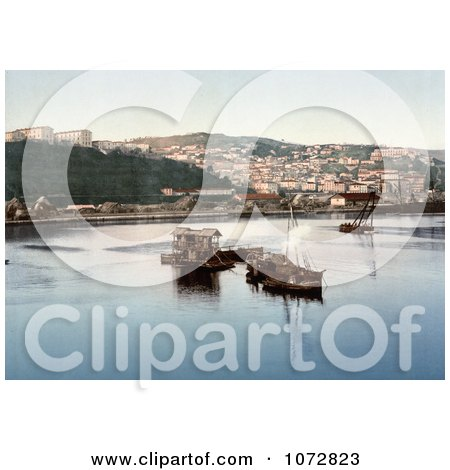 Photochrom of Boats in the Harbor, Philippeville, Algeria - Royalty Free Historical Stock Photography by JVPD
