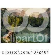 Photochrom Of Boats On Shore Of Lake Thun Switzerland Royalty Free Historical Stock Photography